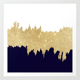 Modern navy blue white faux gold glitter brushstrokes Art Print