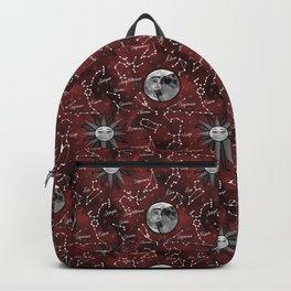 Celestial Star Signs in a Red Galaxy Backpack