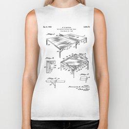 Table Tennis Patent - Tennis Art - Black And White Biker Tank