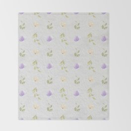 Lilac green hand painted floral leaves pattern Throw Blanket
