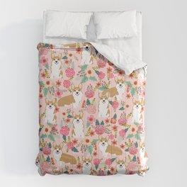 Corgi Florals - vintage corgi and florals gift gifts for dog lovers, corgi clothing, corgi decor, Comforters