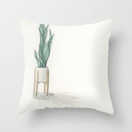 Potted Plant in White Space Throw Pillow