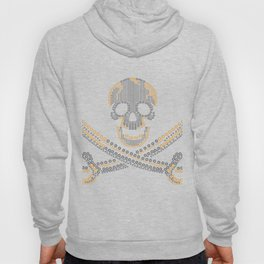 fashion pirate skull gold  diamond and pearls Hoody
