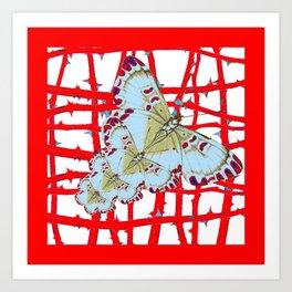 RED-WHITE MOTHS  IN SYNCHRONIZED FLIGHT Art Print