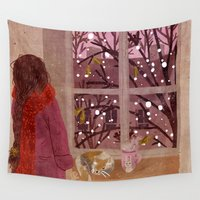 snow Wall Tapestries featuring snow by Lara Paulussen