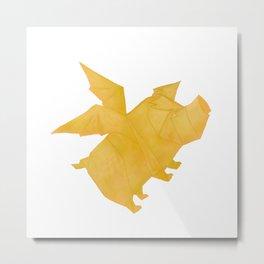 Origami Flying Pig Metal Print