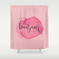 bonjour Shower Curtains featuring BONJOUR by White Feathers Designs