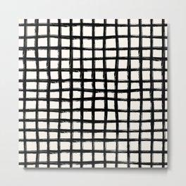 Black and white plaid tartan Metal Print