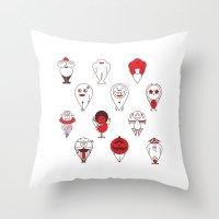 calendar Throw Pillows featuring Calendar monsters by Nika Belova