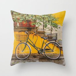 Bicycle Parked at Wall, Lucca, Italy Throw Pillow