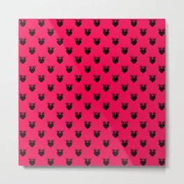 Strawberry Love Bird Hearts Metal Print