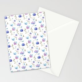 Blue watercolor flowers Stationery Cards
