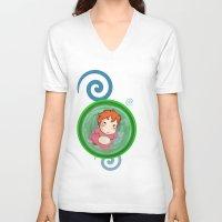 ponyo V-neck T-shirts featuring Ponyo  by SamIAmTheSam