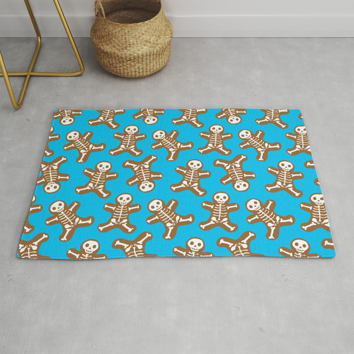 Skeleton Gingerbread Man Pattern Rug By