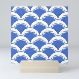 Japanese Fan Pattern Blue 2 Mini Art Print