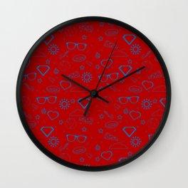 Supergirl/Kara's pattern - blue Wall Clock