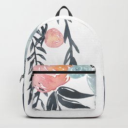 Navy Blush Floral Watercolor Backpack