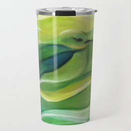 Humming Bird/Acrylic Bird Paint/ Green and Yellow Travel Mug