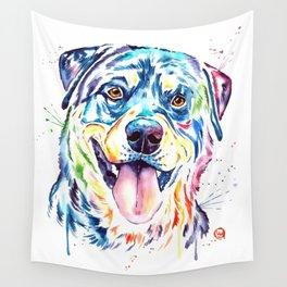 Rottweiler Pet Portrait Colourful Watercolor Painting Wall Tapestry