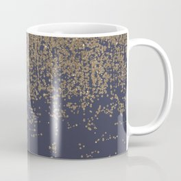 Navy Blue Gold Sparkly Glitter Ombre Coffee Mug