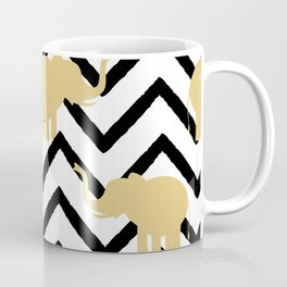 elephant gold silhouette on abstract black chevron Coffee Mug
