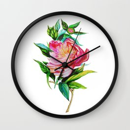 bright red pink peony . Artwork Wall Clock