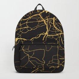 PRAGUE CZECH REPUBLIC GOLD ON BLACK CITY MAP Backpack