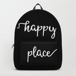 Happy Place, Simple Monochrome Lettering Design in White on Black, Very Minimalist Typography Backpack