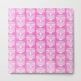 Tiki Pattern Pink Metal Print