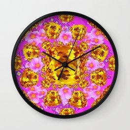 Golden Topaz & Pink Roses Fuchsia Art Wall Clock