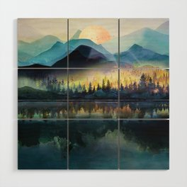 Mountain Lake Under Sunrise Wood Wall Art