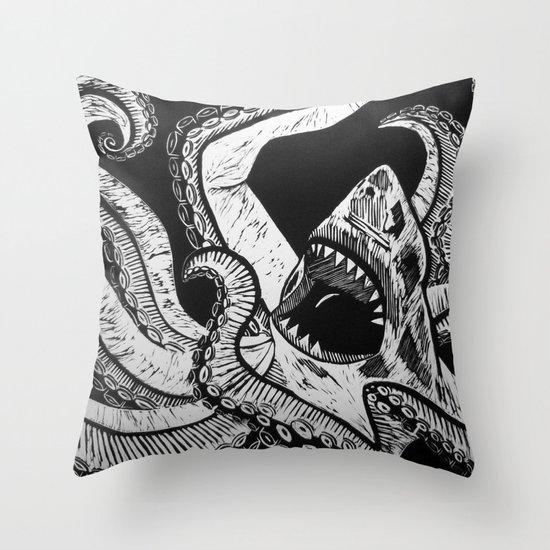Sharktopus Throw Pillow
