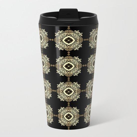 Golden Eastern ornament . Metal Travel Mug