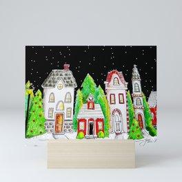 Snowy Village Mini Art Print
