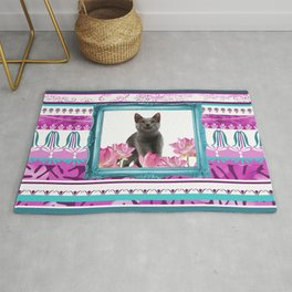Turquoise Frame - grey Cat with Lotos Flowers Rug