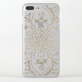 Chic elegant white faux gold spiritual floral mandala Clear iPhone Case