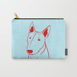 Bull Terrier (Light Blue and Red) Carry-All Pouch