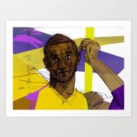 kobe Art Prints featuring Kobe Bryant: SO CHILL by Maddison Bond