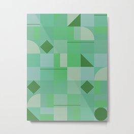 Retro Mid Century Green Geometric Squares Pattern Metal Print