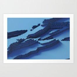 blue cubes  Art Print