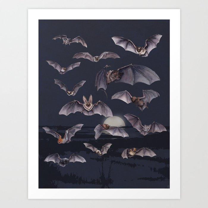 A Cloud of Bats Art Print