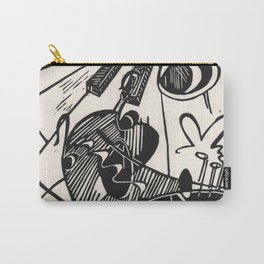 Herbie's Tune, Abstract Jazz Instruments Black and White Block Print Carry-All Pouch
