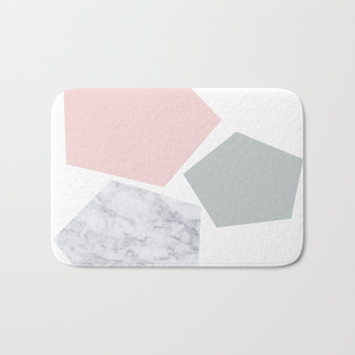 Blush, gray & marble geo Bath Mat