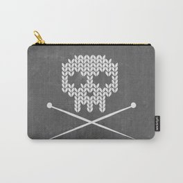 Knitted Skull (White on Grey) Carry-All Pouch