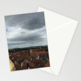 Rooftops of the Rothenburg ob der  Tauber at the sunset Cloudy evening  Stationery Cards