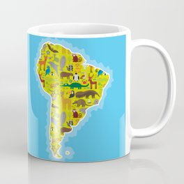 South America sloth anteater toucan lama armadillo boa manatee monkey dolphin Maned wolf raccoon Coffee Mug