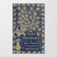 Pride and Prejudice by Jane Austen Vintage Peacock Book Cover Canvas Print