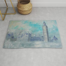 London Palace of Westminster S050 Large impressionism acrylic painting art by artist Ksavera Rug