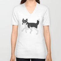 husky V-neck T-shirts featuring Husky by Sarah