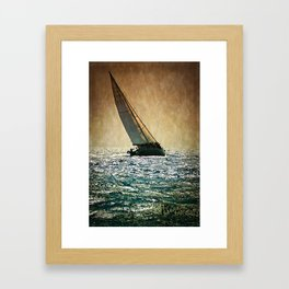 sailracers on sailboat Framed Art Print